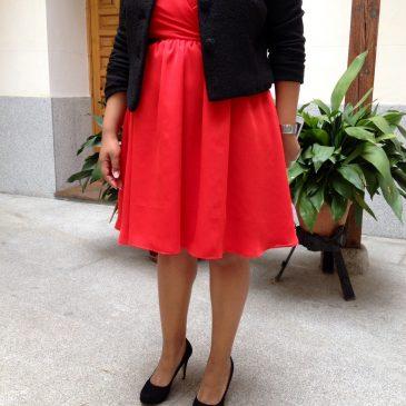 Vestido y chaqueta para madre de bautizo
