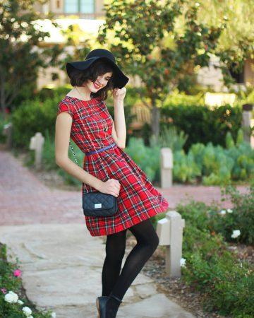 Vestido skater cuadros escoceses rojo