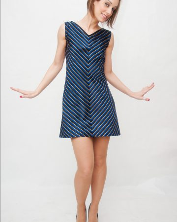 Vestido yeye años 60 rayas diagonal azul-Summertime-Blues-2