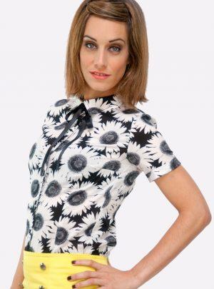 Camisa flores blanco negro Sunflower