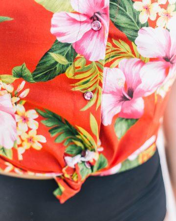 Camisa hawaiana mujer roja Dresses2Kill