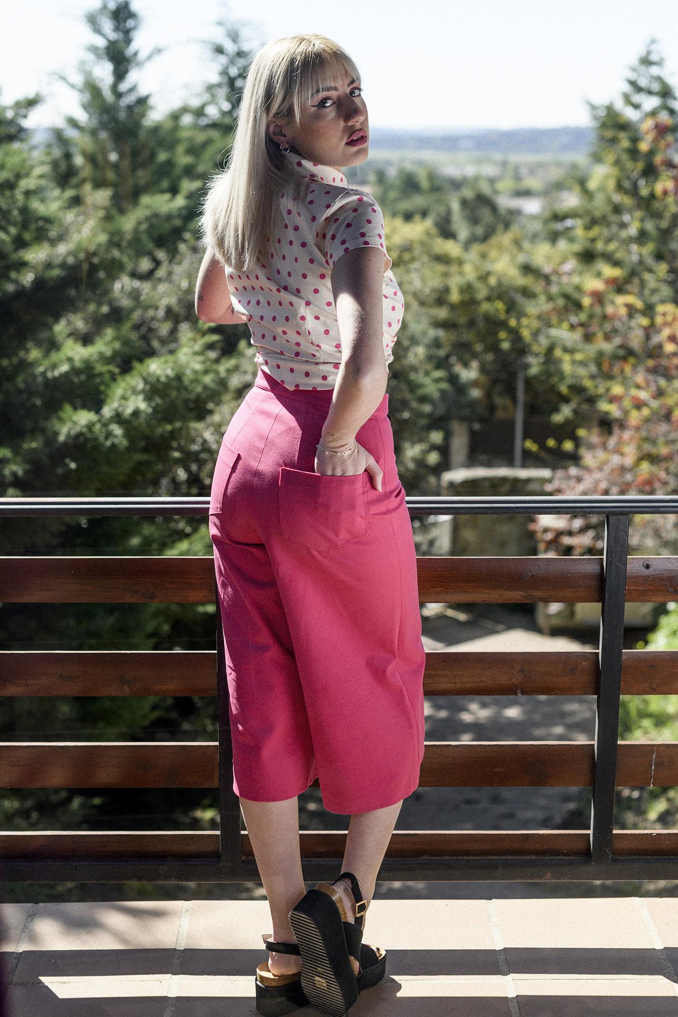 Camisa lunares rosas Pink Dots + Pantalon culotte Evening rosa
