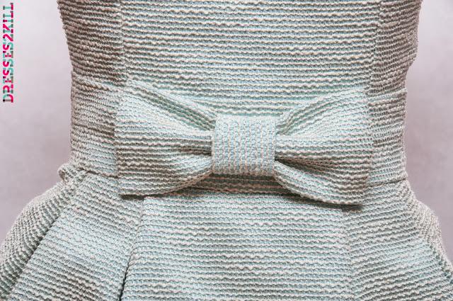 vestido invitada boda tulipan lazo pique azul dorado