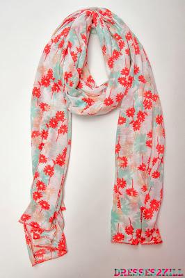 fular algodon flores rojo celeste
