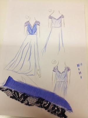 bocetos vestido largo azul encaje gasa boda valladolid